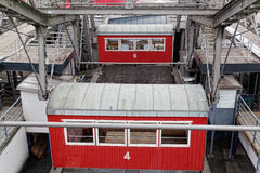 Red cabins on a big wheel Royalty Free Stock Image