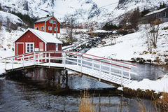 Red cabins of Nusfjord Royalty Free Stock Photos
