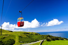 Red cable car in 2011. Red cable car going to 2011 years Stock Photos