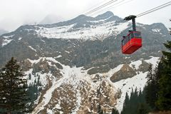 Red Cable Car At Pilatus Mountain At Lucern Switze Royalty Free Stock Image