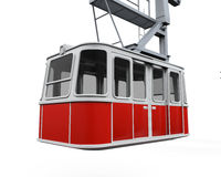 Red Cable Car. Isolated on white background. 3D render Royalty Free Stock Photo