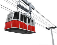 Red Cable Car. Isolated on white background. 3D render Stock Image