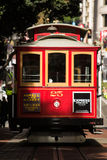 Red Cable Car in San Francisco. Front view of a red cable car in San Francisco stock photography