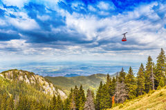 Red cable car Royalty Free Stock Image