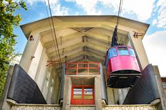 Red cable cardeparture from station Stock Photos