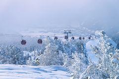 Free Red Cable Cars In Zillertal Ski Resort Tyrol Austria Royalty Free Stock Image - 166500896