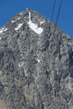 Red cableway rising to the top in High Tatras Royalty Free Stock Images