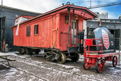 Red caboose car Stock Photos