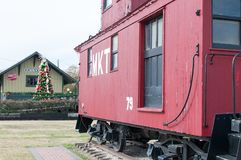 Red Caboose on Display Royalty Free Stock Photo