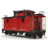 Red Caboose isolated on white. 3D Illustration Royalty Free Stock Photography