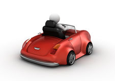 Red cabrio driven by 3d character Royalty Free Stock Photography