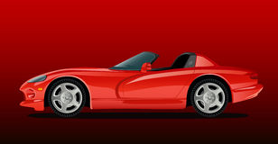 Red cabriolet. On a red gradient background Stock Photo