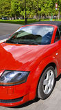 Red cabriolet. A red convertible car parked in the streets of paris Stock Photo