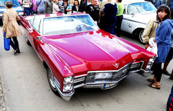 Red Cadillac Deville 1966 royalty free stock image