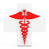 Red Caduceus Symbol  in front of White Cross. 3d Rendering Royalty Free Stock Photo