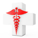 Red Caduceus Symbol  in front of White Cross. 3d Rendering Stock Images