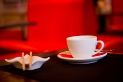 In red cafe Stock Photography