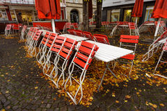 Red cafe in Cologne, Germany Royalty Free Stock Image