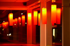 Red cafe interior night scene Royalty Free Stock Photography