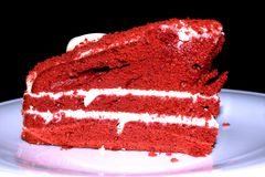 Red cake in black background Royalty Free Stock Photo
