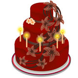 Red cake with burning candles and flowers. Red festive cake with burning candles and decorated with flowers. Birthday, wedding, anniversary concept. Vector Royalty Free Stock Image