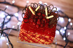 Red cake with forest fruits Royalty Free Stock Photography