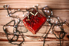 Red cake with forest fruits Royalty Free Stock Images