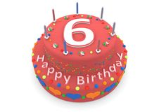 Red cake with happy birthday and the age. Shown is a red cake with the age and happy birthday Royalty Free Stock Photography