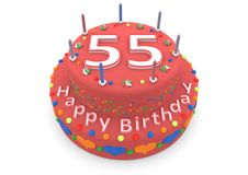 Red cake with happy birthday and the age. Shown is a red cake with the age and happy birthday Stock Images