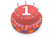 Red cake with happy birthday and the age. Shown is a red cake with the age and happy birthday Royalty Free Stock Images