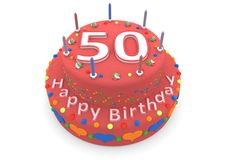 Red cake with happy birthday and the age. Shown is a red cake with the age and happy birthday Stock Photography