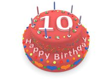 Red cake with happy birthday and the age. Shown is a red cake with the age and happy birthday Stock Image