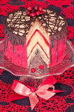 Red cake with poppy seeds, marzipan and chocolate Royalty Free Stock Photography