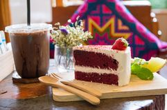 Red  cake on wood board royalty free stock photography