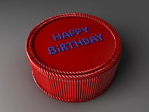 Red cake with the words happy birthday Royalty Free Stock Photography