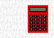 Red calculator. Gray background with red calculator Royalty Free Stock Images