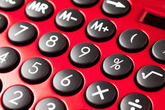 Red calculator, close up Stock Image