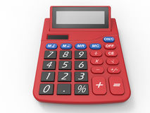Red calculator. 3D render illustration of a red calculator. The object is isolated on a white background with shadows Stock Images