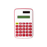 Red calculator isolated on white background Royalty Free Stock Photos