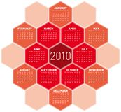 Red Calendar for 2010. Red Calendar for year 2010 in an hexagonal pattern (vector format vector illustration