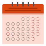 Red calendar flat icon stock illustration