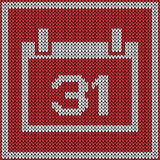 Red calendar icon on knitted pattern Royalty Free Stock Image