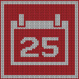 Red calendar icon on knitted pattern Royalty Free Stock Photos