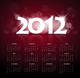 Red calendar for the new year 2012 with back light Royalty Free Stock Photos