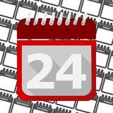 Red Calendar - Vector Icon number 24. Ector icon stock illustration