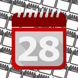 Red Calendar - Vector Icon number 28. Ector icon Royalty Free Stock Photo
