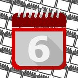 Red Calendar - Vector Icon number 6. Ector icon Stock Photography