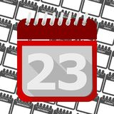 Red Calendar - Vector Icon number 23. Ector icon Stock Photography