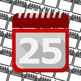 Red Calendar - Vector Icon number 25. Ector icon Royalty Free Stock Images