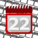 Red Calendar - Vector Icon number 22. Ector icon Royalty Free Stock Photos
